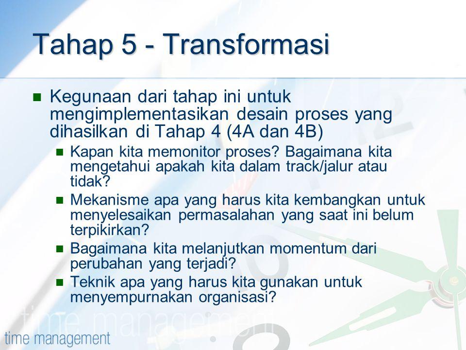 Tahap 5 - Transformasi Kegunaan dari tahap ini untuk mengimplementasikan desain proses yang dihasilkan di Tahap 4 (4A dan 4B) Kapan kita memonitor pro