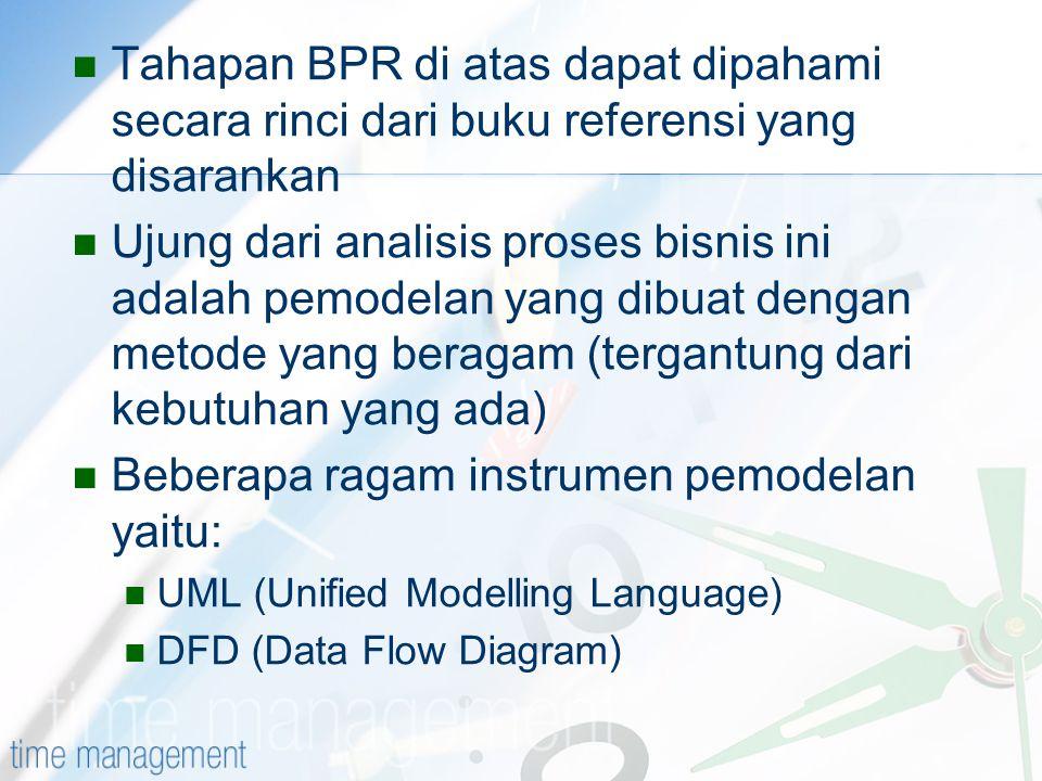 Tahapan BPR di atas dapat dipahami secara rinci dari buku referensi yang disarankan Ujung dari analisis proses bisnis ini adalah pemodelan yang dibuat