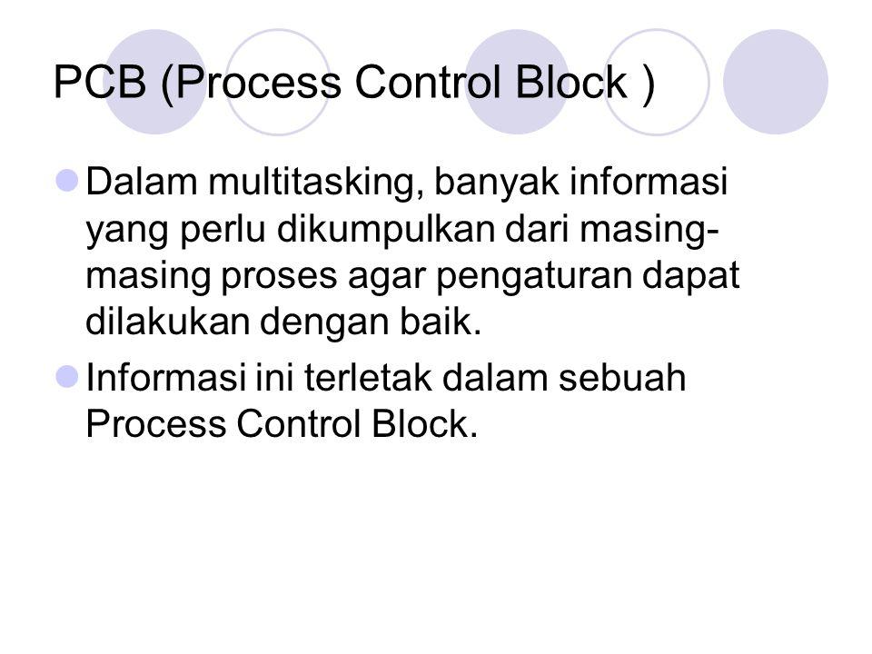 PCB (Process Control Block ) Dalam multitasking, banyak informasi yang perlu dikumpulkan dari masing- masing proses agar pengaturan dapat dilakukan de