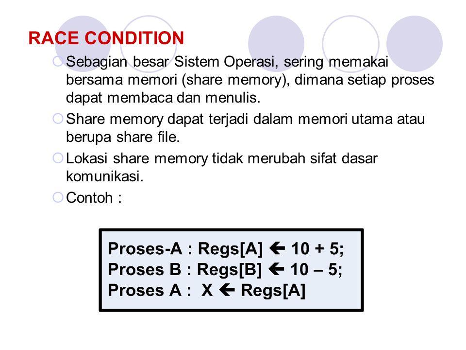 RACE CONDITION  Sebagian besar Sistem Operasi, sering memakai bersama memori (share memory), dimana setiap proses dapat membaca dan menulis.  Share