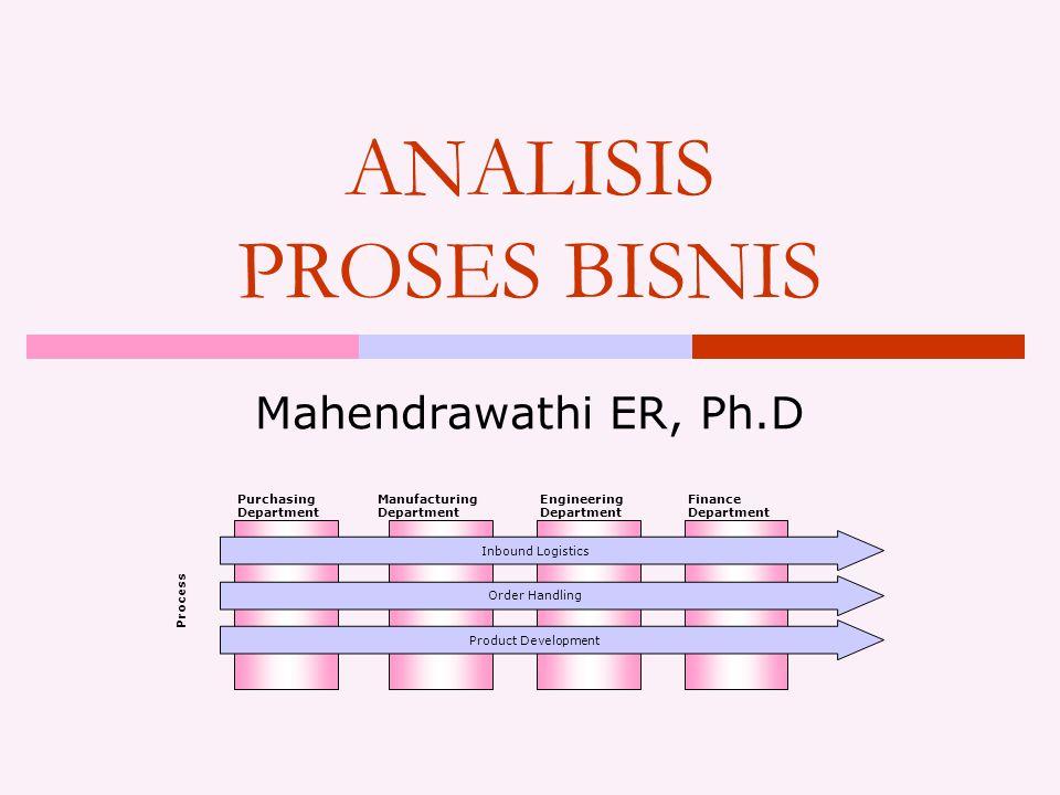 ANALISIS PROSES BISNIS Mahendrawathi ER, Ph.D Purchasing Department Manufacturing Department Engineering Department Finance Department Process Inbound Logistics Order Handling Product Development