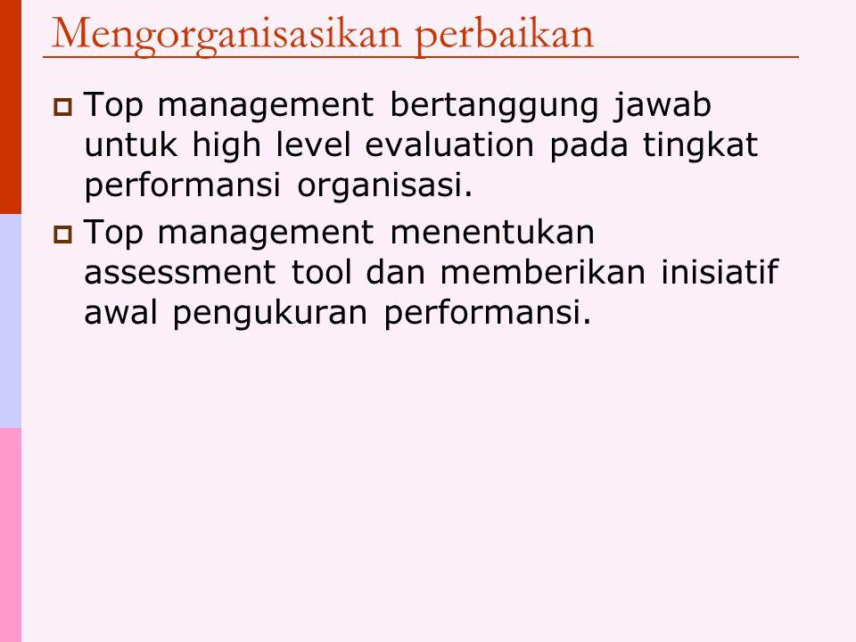 Mengorganisasikan perbaikan  Top management bertanggung jawab untuk high level evaluation pada tingkat performansi organisasi.  Top management menen