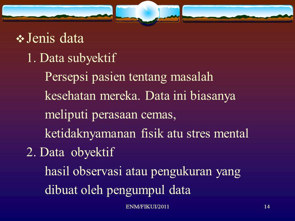 ENM/FIKUI/201114  Jenis data 1. Data subyektif Persepsi pasien tentang masalah kesehatan mereka. Data ini biasanya meliputi perasaan cemas, ketidakny