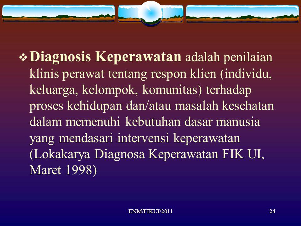 ENM/FIKUI/201124  Diagnosis Keperawatan adalah penilaian klinis perawat tentang respon klien (individu, keluarga, kelompok, komunitas) terhadap prose