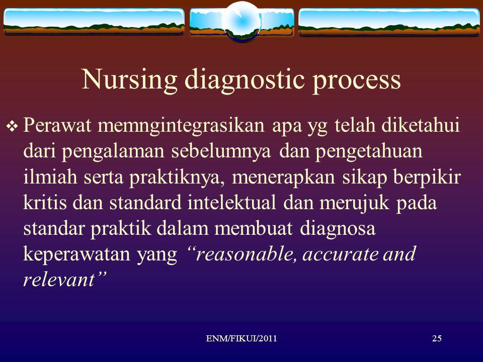 Nursing diagnostic process  Perawat memngintegrasikan apa yg telah diketahui dari pengalaman sebelumnya dan pengetahuan ilmiah serta praktiknya, mene