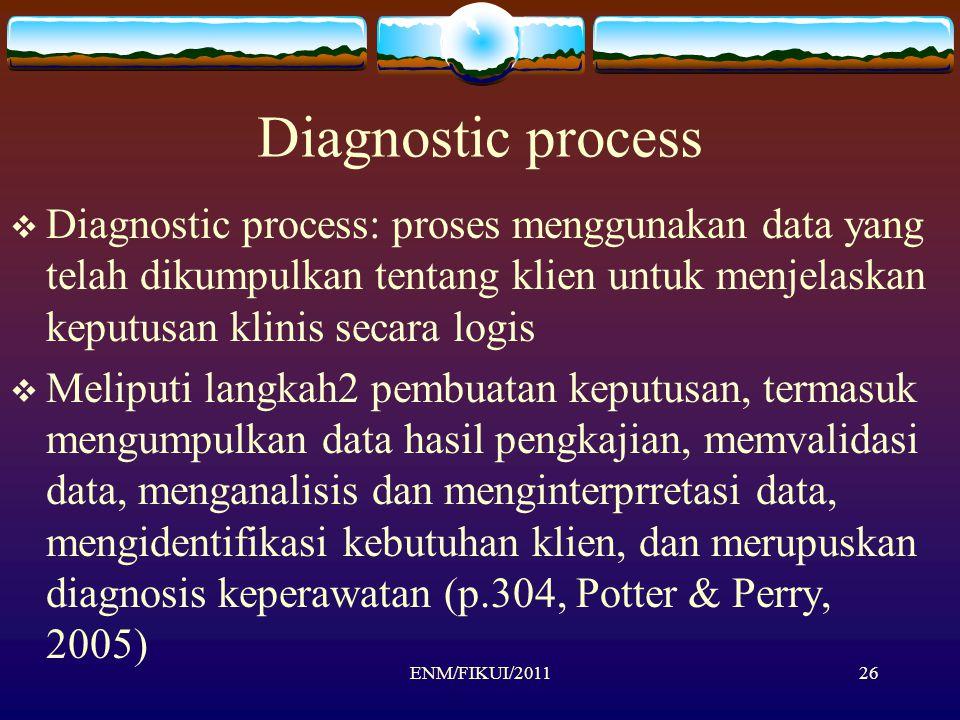 Diagnostic process  Diagnostic process: proses menggunakan data yang telah dikumpulkan tentang klien untuk menjelaskan keputusan klinis secara logis