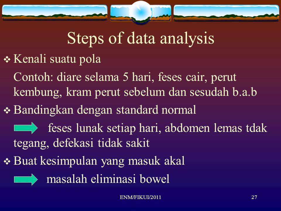 Steps of data analysis  Kenali suatu pola Contoh: diare selama 5 hari, feses cair, perut kembung, kram perut sebelum dan sesudah b.a.b  Bandingkan d