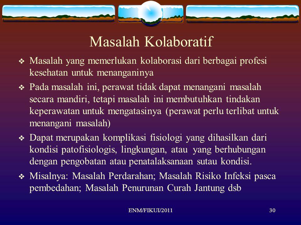 ENM/FIKUI/201130 Masalah Kolaboratif  Masalah yang memerlukan kolaborasi dari berbagai profesi kesehatan untuk menanganinya  Pada masalah ini, peraw