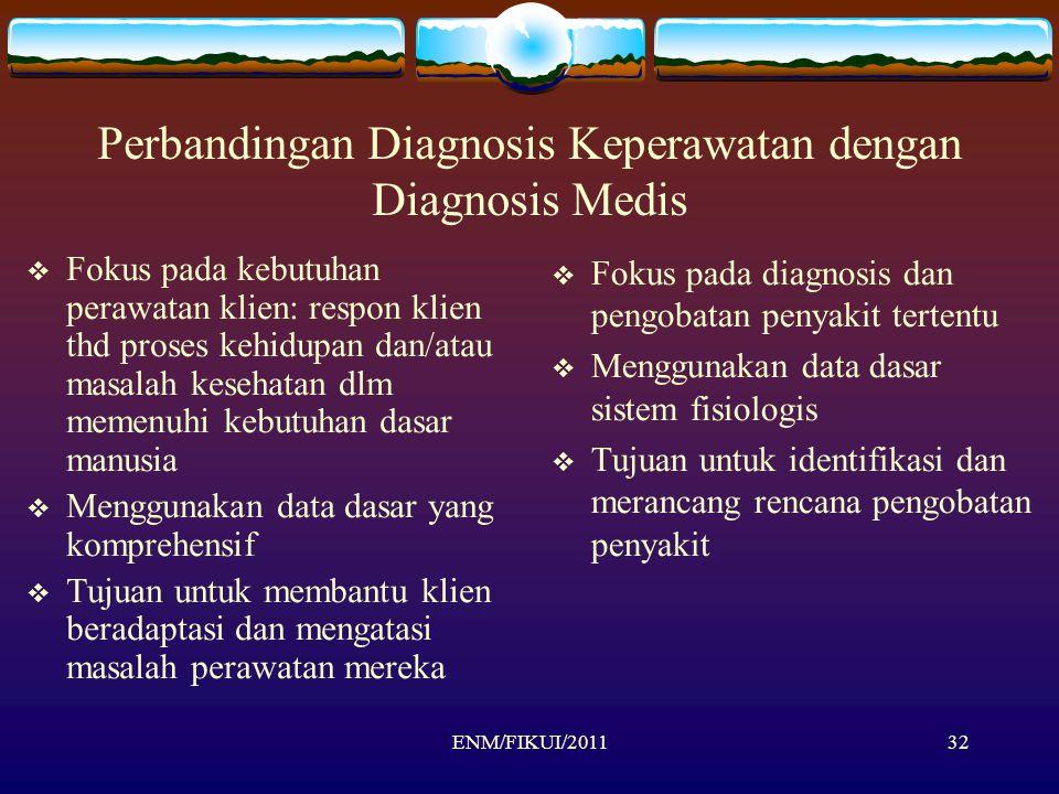 ENM/FIKUI/201132 Perbandingan Diagnosis Keperawatan dengan Diagnosis Medis  Fokus pada kebutuhan perawatan klien: respon klien thd proses kehidupan d