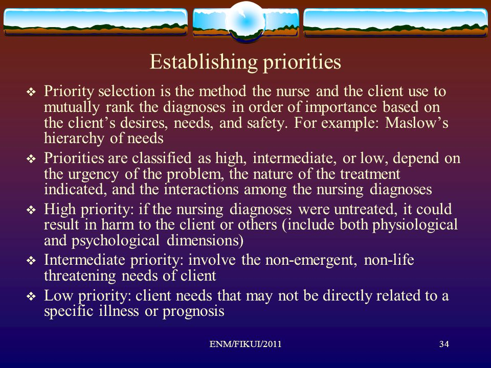 Establishing priorities  Priority selection is the method the nurse and the client use to mutually rank the diagnoses in order of importance based on the client's desires, needs, and safety.