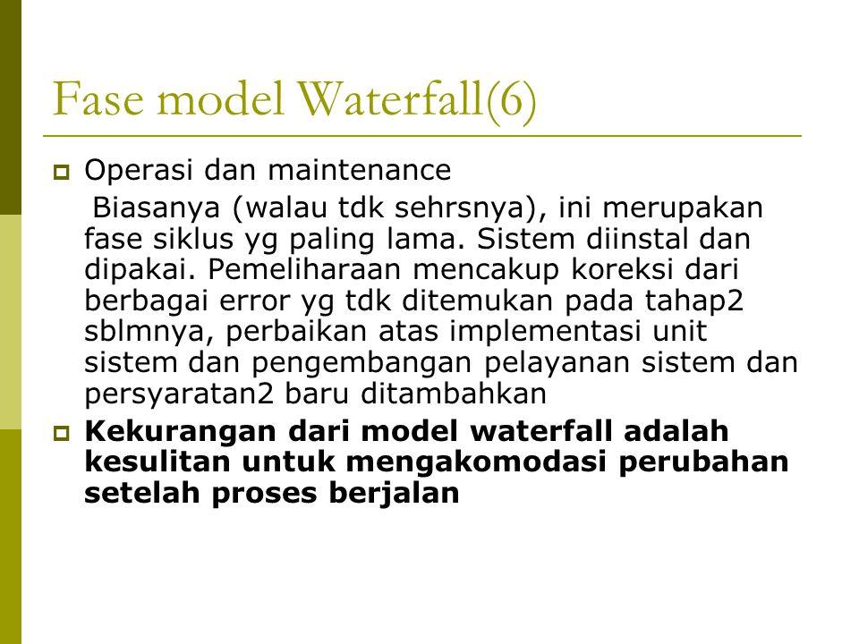 Fase model Waterfall(6)  Operasi dan maintenance Biasanya (walau tdk sehrsnya), ini merupakan fase siklus yg paling lama.