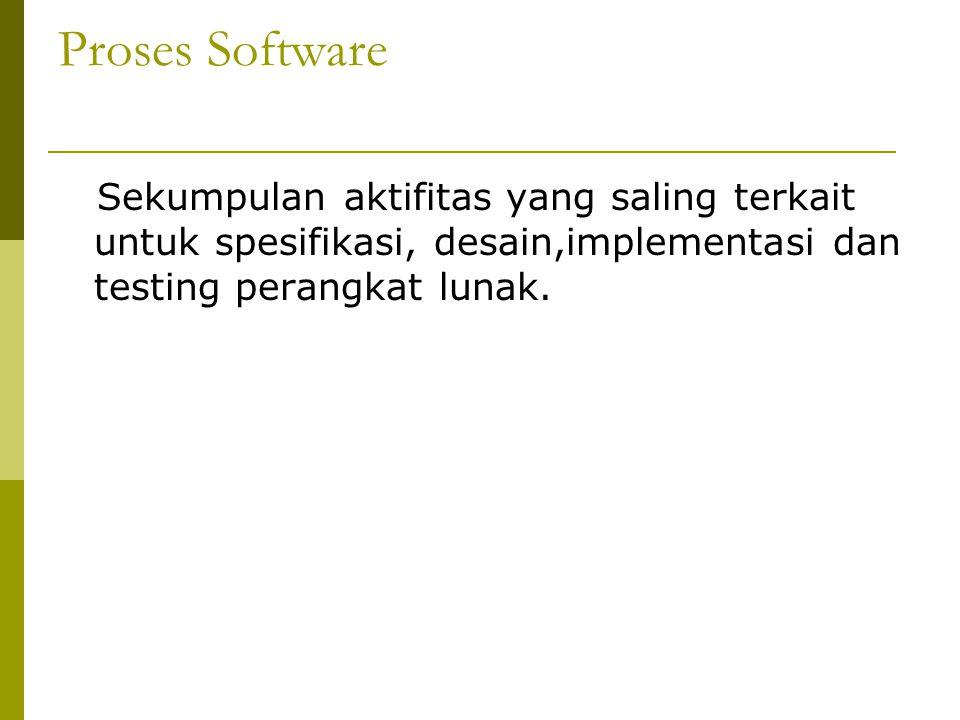 Proses Software  Sekumpulan aktifitas terstruktur yang dibutuhkan untuk mengembangkan sistem software, yang meliputi kegiatan : o Spesifikasi perangkat lunak : Fungsionalitas perangkat lunak dan batasan kemampuan operasinya harus didefinisikan o Pengembangan (Desain&Implementasi) perangkat lunak : Perangkat lunak yang memenuhi spesifikasi harus di produksi o Validasi perangkat lunak, Perangkat lunak harus divalidasi untuk menjamin bahwa perangkat lunak bekerja sesuai dengan apa yang diinginkan oleh pelanggan