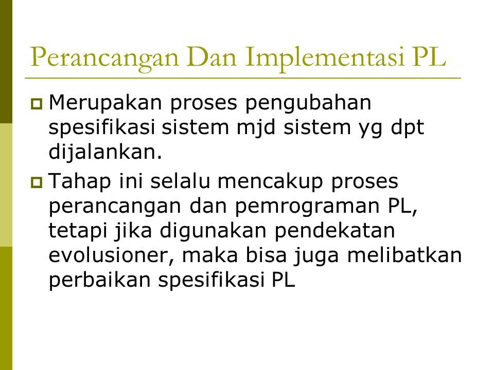 Perancangan Dan Implementasi PL  Merupakan proses pengubahan spesifikasi sistem mjd sistem yg dpt dijalankan.
