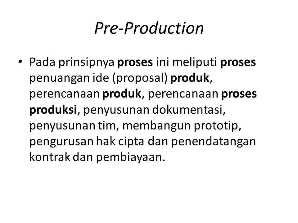 Pre-Production Pada prinsipnya proses ini meliputi proses penuangan ide (proposal) produk, perencanaan produk, perencanaan proses produksi, penyusunan dokumentasi, penyusunan tim, membangun prototip, pengurusan hak cipta dan penendatangan kontrak dan pembiayaan.