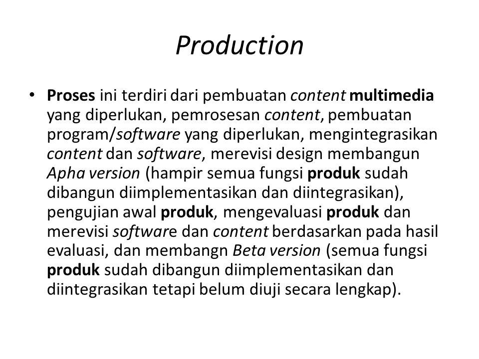 Production Proses ini terdiri dari pembuatan content multimedia yang diperlukan, pemrosesan content, pembuatan program/software yang diperlukan, mengintegrasikan content dan software, merevisi design membangun Apha version (hampir semua fungsi produk sudah dibangun diimplementasikan dan diintegrasikan), pengujian awal produk, mengevaluasi produk dan merevisi software dan content berdasarkan pada hasil evaluasi, dan membangn Beta version (semua fungsi produk sudah dibangun diimplementasikan dan diintegrasikan tetapi belum diuji secara lengkap).