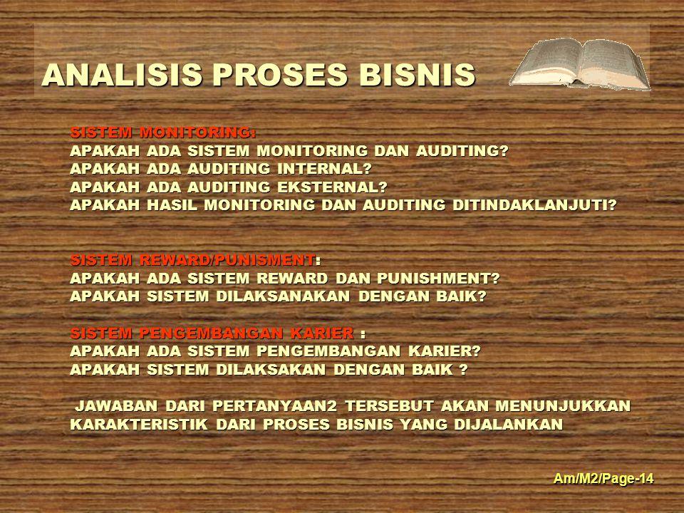 ANALISIS PROSES BISNIS Am/M2/Page-14 SISTEM MONITORING: APAKAH ADA SISTEM MONITORING DAN AUDITING? APAKAH ADA AUDITING INTERNAL? APAKAH ADA AUDITING E