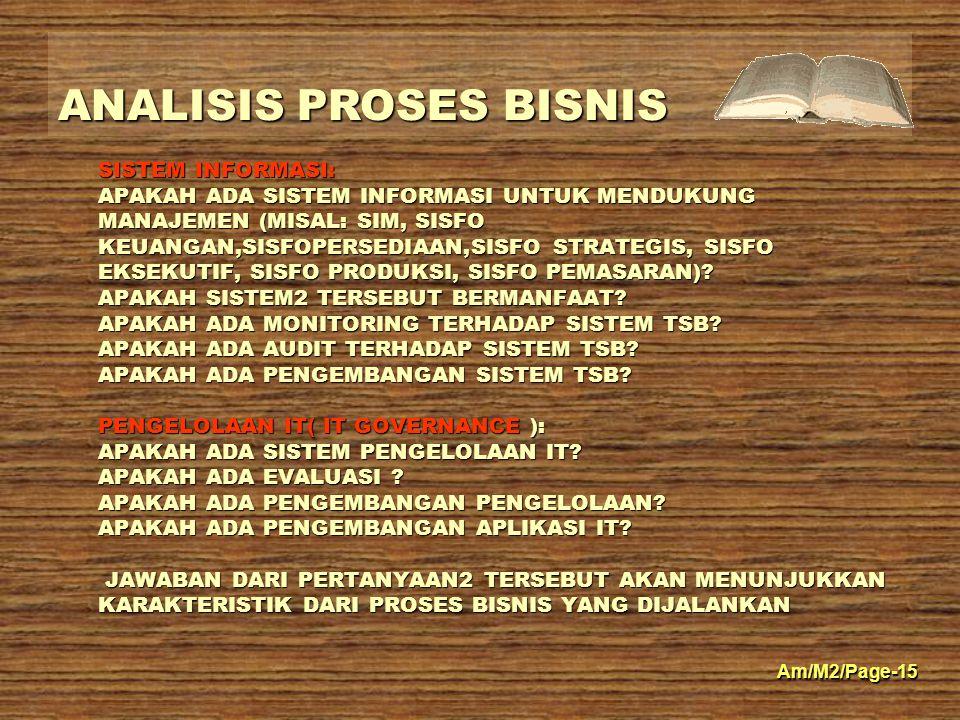 ANALISIS PROSES BISNIS Am/M2/Page-15 SISTEM INFORMASI: APAKAH ADA SISTEM INFORMASI UNTUK MENDUKUNG MANAJEMEN (MISAL: SIM, SISFO KEUANGAN,SISFOPERSEDIA