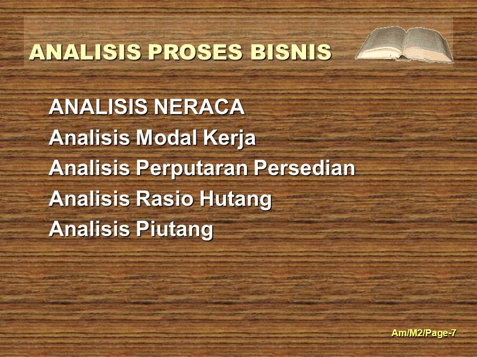 ANALISIS PROSES BISNIS Am/M2/Page-7 ANALISIS NERACA Analisis Modal Kerja Analisis Perputaran Persedian Analisis Rasio Hutang Analisis Piutang