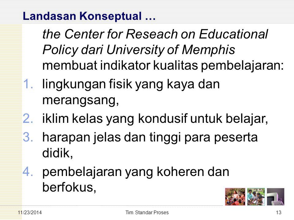 Tim Standar Proses1311/23/2014 Landasan Konseptual … the Center for Reseach on Educational Policy dari University of Memphis membuat indikator kualita