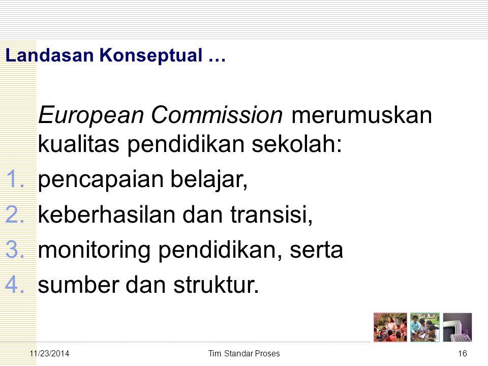 Tim Standar Proses1611/23/2014 Landasan Konseptual … European Commission merumuskan kualitas pendidikan sekolah: 1.pencapaian belajar, 2.keberhasilan