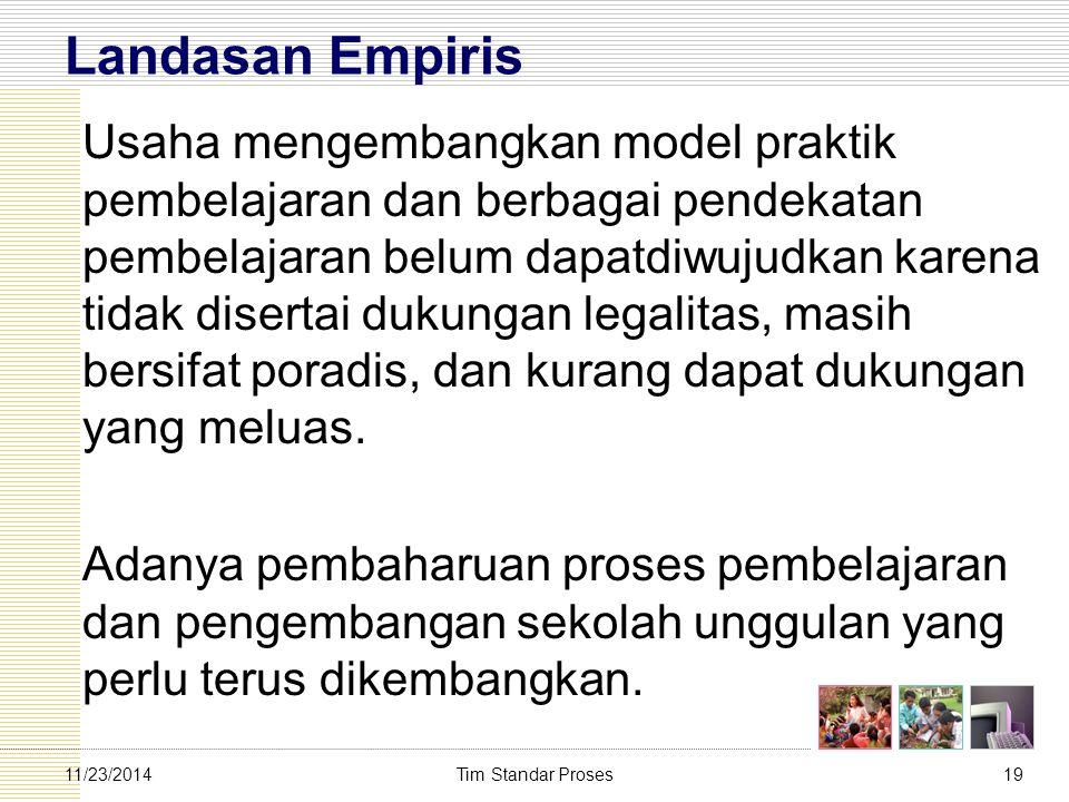 Tim Standar Proses1911/23/2014 Landasan Empiris Usaha mengembangkan model praktik pembelajaran dan berbagai pendekatan pembelajaran belum dapatdiwujud
