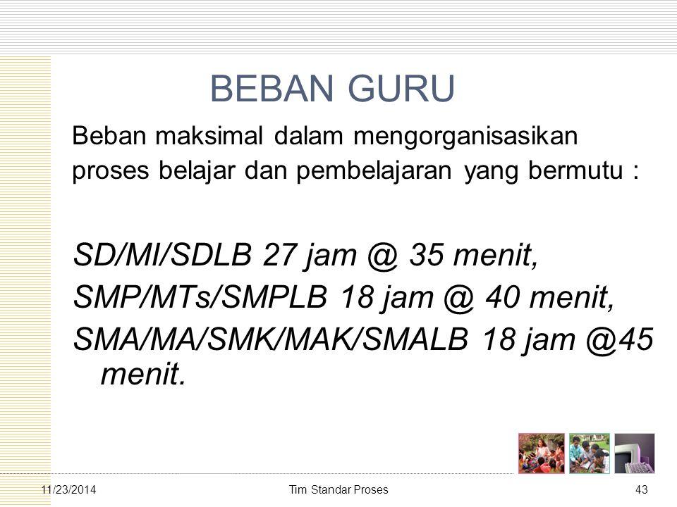 Tim Standar Proses4311/23/2014 BEBAN GURU Beban maksimal dalam mengorganisasikan proses belajar dan pembelajaran yang bermutu : SD/MI/SDLB 27 jam @ 35