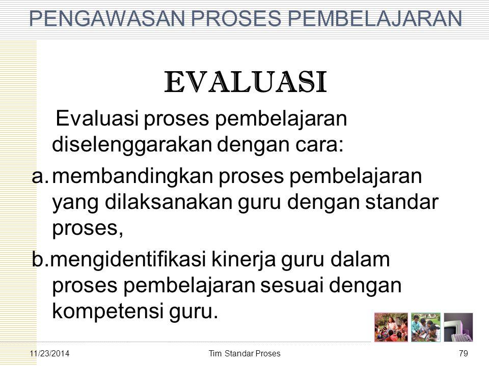Tim Standar Proses7911/23/2014 PENGAWASAN PROSES PEMBELAJARAN EVALUASI Evaluasi proses pembelajaran diselenggarakan dengan cara: a.membandingkan prose