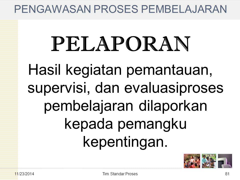 Tim Standar Proses8111/23/2014 PENGAWASAN PROSES PEMBELAJARAN PELAPORAN Hasil kegiatan pemantauan, supervisi, dan evaluasiproses pembelajaran dilapor