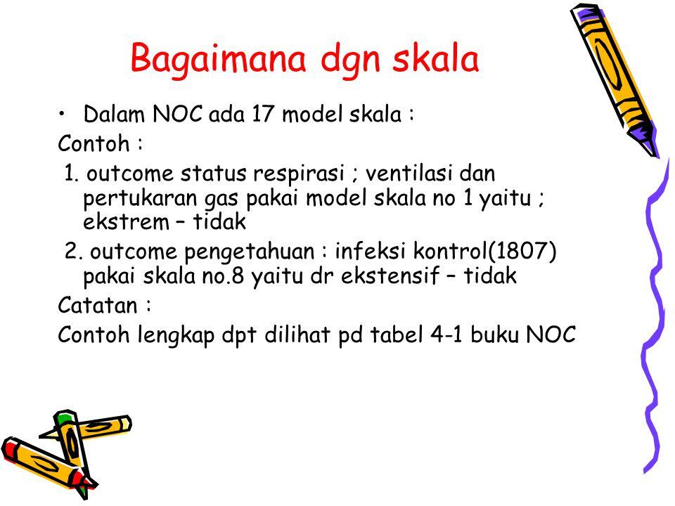 Bagaimana dgn skala Dalam NOC ada 17 model skala : Contoh : 1. outcome status respirasi ; ventilasi dan pertukaran gas pakai model skala no 1 yaitu ;