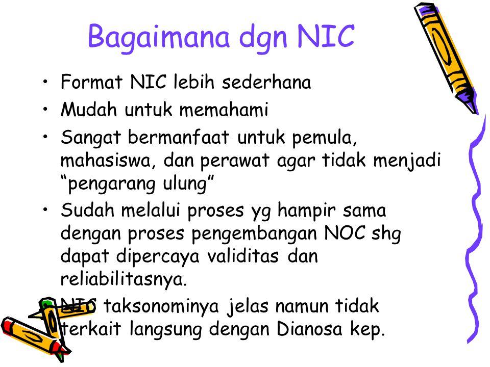 """Bagaimana dgn NIC Format NIC lebih sederhana Mudah untuk memahami Sangat bermanfaat untuk pemula, mahasiswa, dan perawat agar tidak menjadi """"pengarang"""
