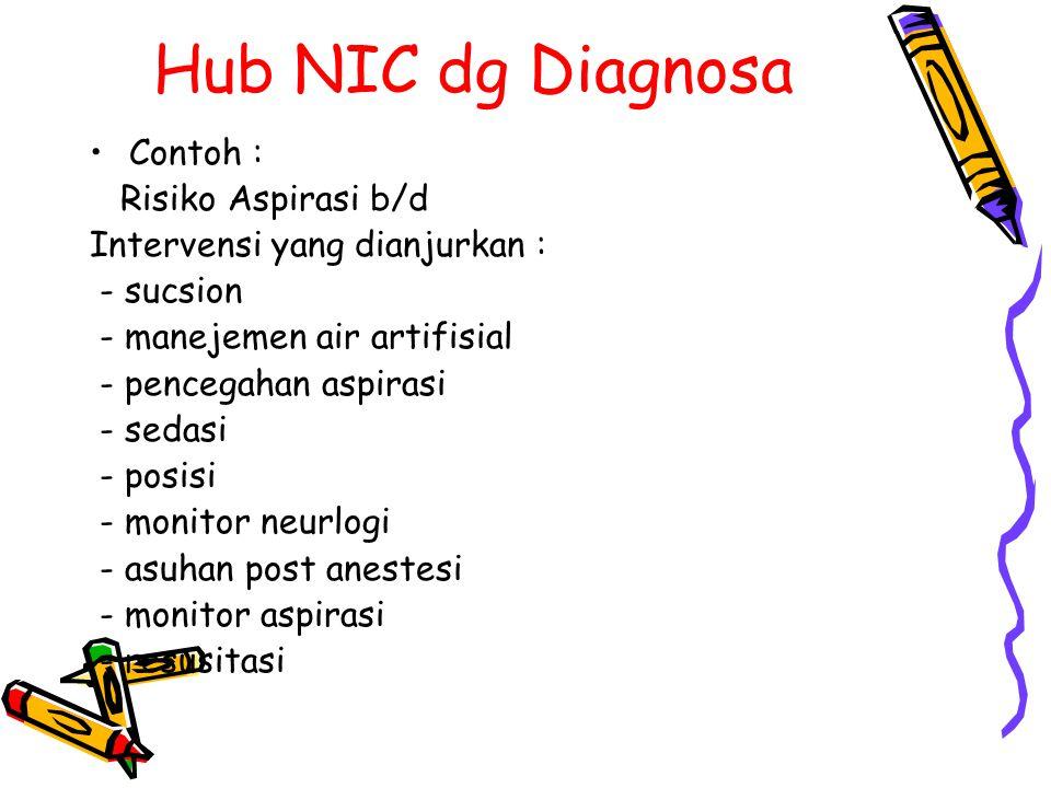 Hub NIC dg Diagnosa Contoh : Risiko Aspirasi b/d Intervensi yang dianjurkan : - sucsion - manejemen air artifisial - pencegahan aspirasi - sedasi - po
