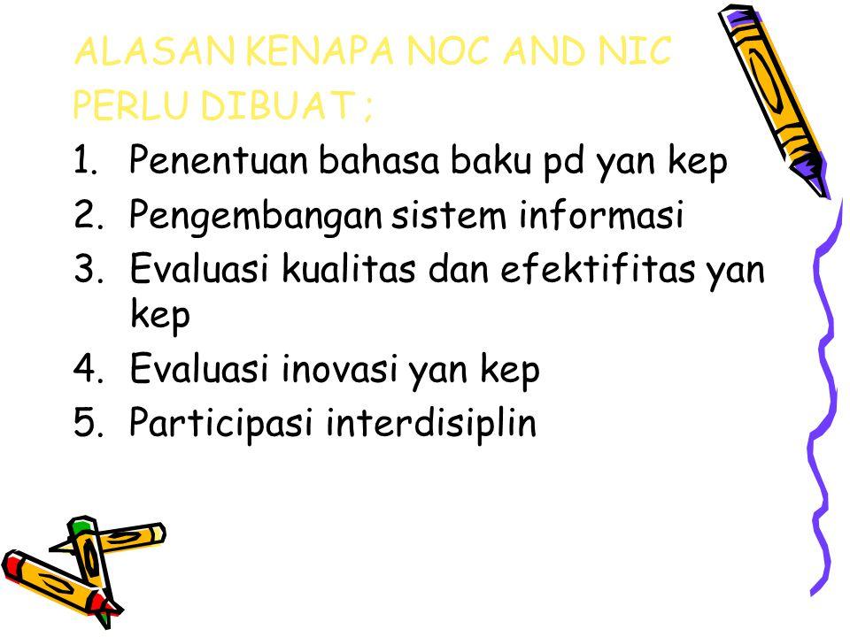 ALASAN KENAPA NOC AND NIC PERLU DIBUAT ; 1.Penentuan bahasa baku pd yan kep 2.Pengembangan sistem informasi 3.Evaluasi kualitas dan efektifitas yan ke