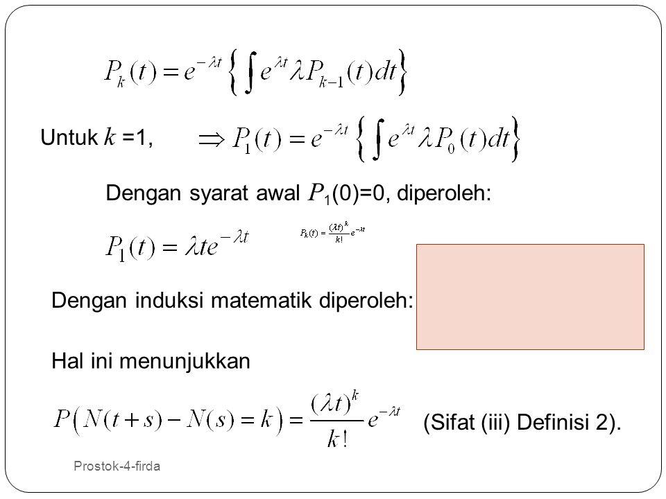 Prostok-4-firda 16 Untuk k =1, Dengan induksi matematik diperoleh: Dengan syarat awal P 1 (0)=0, diperoleh: Hal ini menunjukkan (Sifat (iii) Definisi