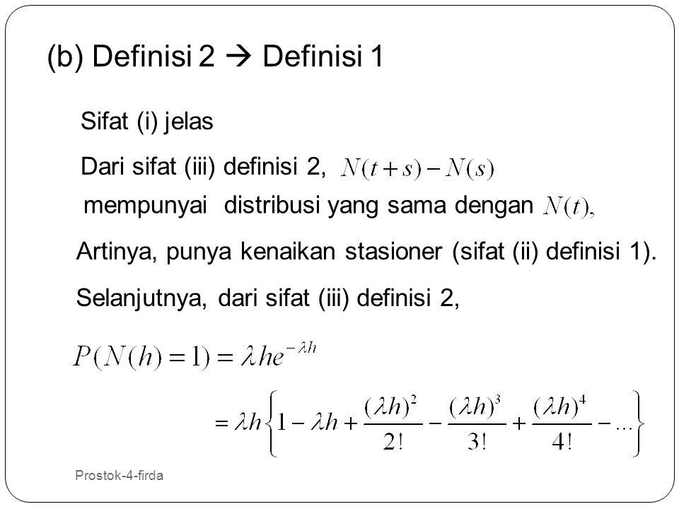Prostok-4-firda 17 (b) Definisi 2  Definisi 1 Sifat (i) jelas Dari sifat (iii) definisi 2, mempunyai distribusi yang sama dengan Artinya, punya kenai