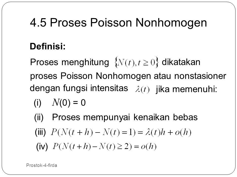 Prostok-4-firda 37 4.5 Proses Poisson Nonhomogen Definisi: Proses menghitung dikatakan proses Poisson Nonhomogen atau nonstasioner dengan fungsi inten
