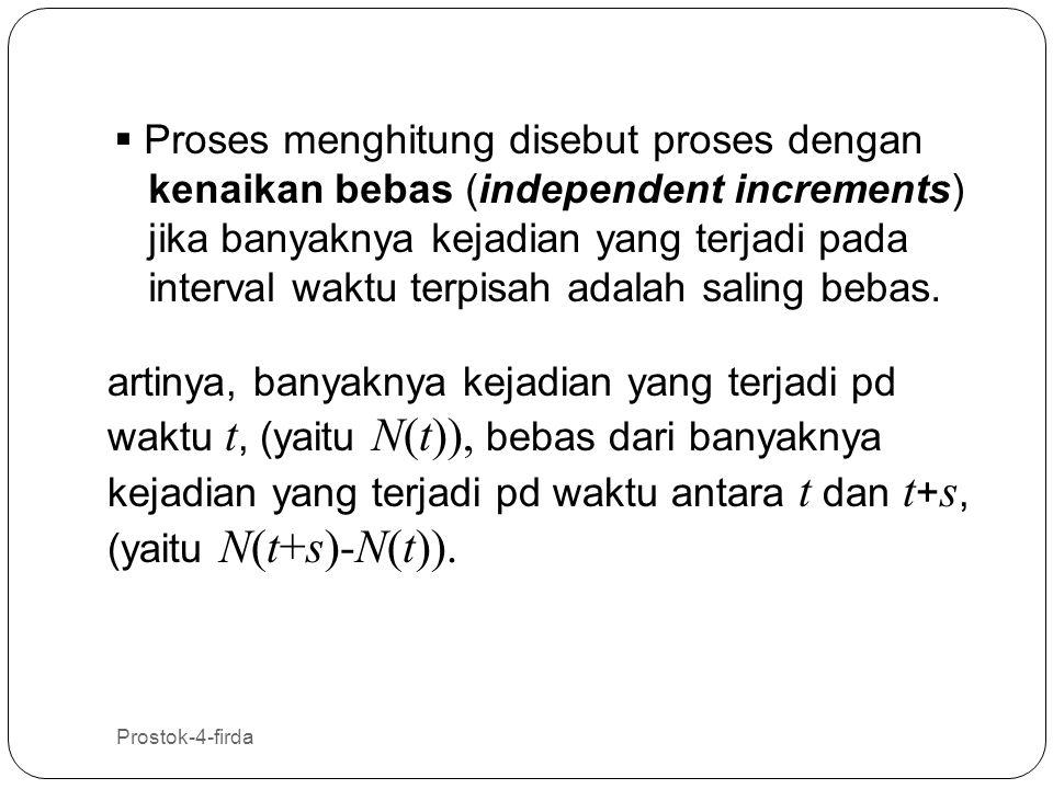 Prostok-4-firda 5  Proses menghitung disebut proses dengan kenaikan stasioner (stationary increments) jika distribusi dari banyaknya kejadian yang terjadi pada interval waktu tertentu hanya tergantung pada panjang dari interval tersebut, tidak bergantung pada letak interval tersebut.