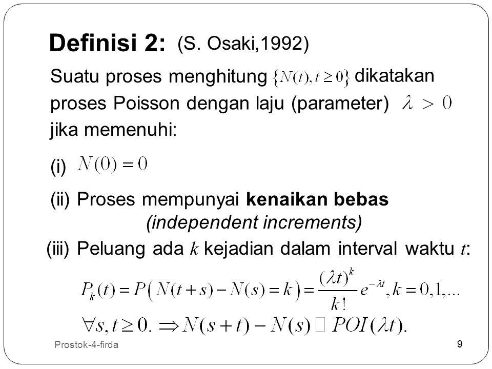 Prostok-4-firda 9 9 Definisi 2: Suatu proses menghitung dikatakan proses Poisson dengan laju (parameter) jika memenuhi: (i) (ii) Proses mempunyai kena