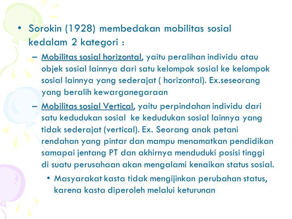 """Mobilitas Sosial Mobilitas Sosial merupakan """"perubahan status Sosial yang terjadi pada seseorang"""" Kimbal Young &Raymond W.Mack(1959) mendefinisikan Mo"""