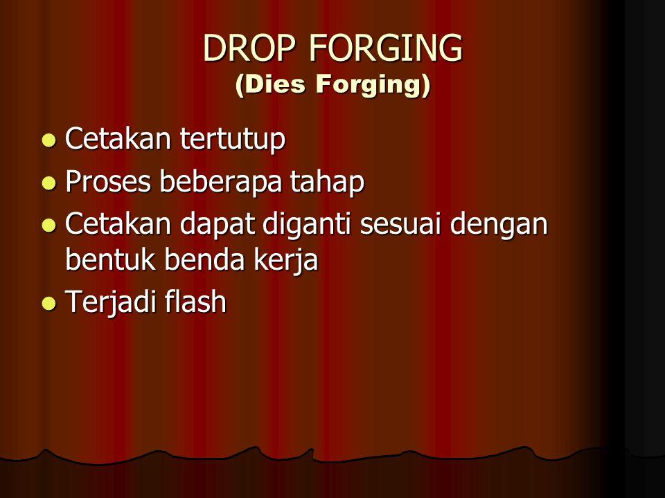 DROP FORGING (Dies Forging) Cetakan tertutup Cetakan tertutup Proses beberapa tahap Proses beberapa tahap Cetakan dapat diganti sesuai dengan bentuk b