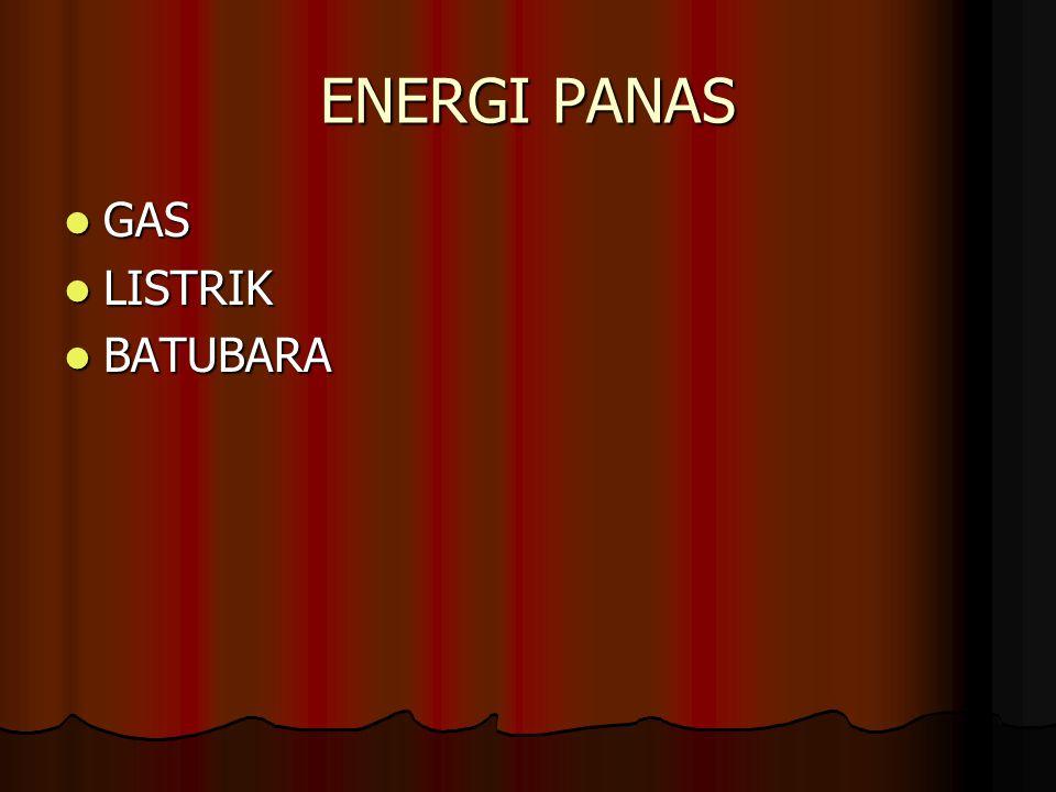 ENERGI PANAS GAS GAS LISTRIK LISTRIK BATUBARA BATUBARA