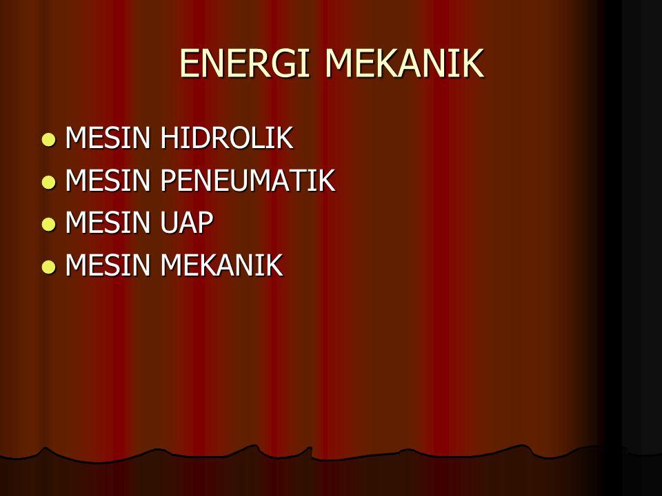 ENERGI MEKANIK MESIN HIDROLIK MESIN HIDROLIK MESIN PENEUMATIK MESIN PENEUMATIK MESIN UAP MESIN UAP MESIN MEKANIK MESIN MEKANIK