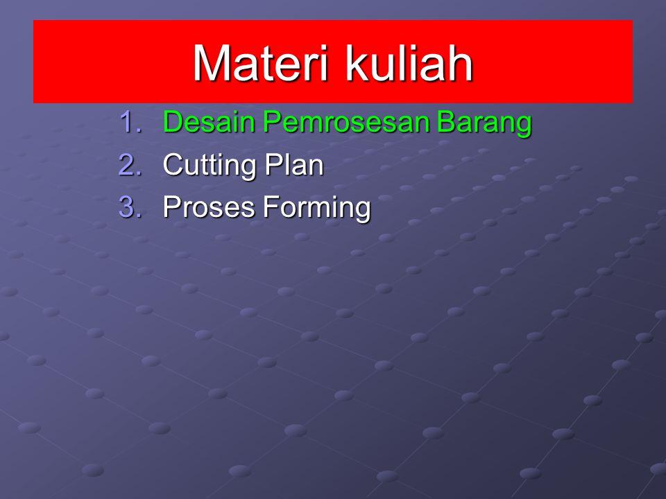Materi kuliah 1.D esain Pemrosesan Barang 2.C utting Plan 3.P roses Forming