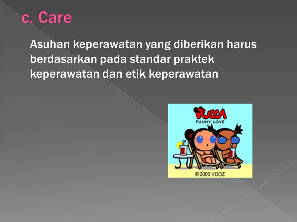 Asuhan keperawatan yang diberikan harus berdasarkan pada standar praktek keperawatan dan etik keperawatan