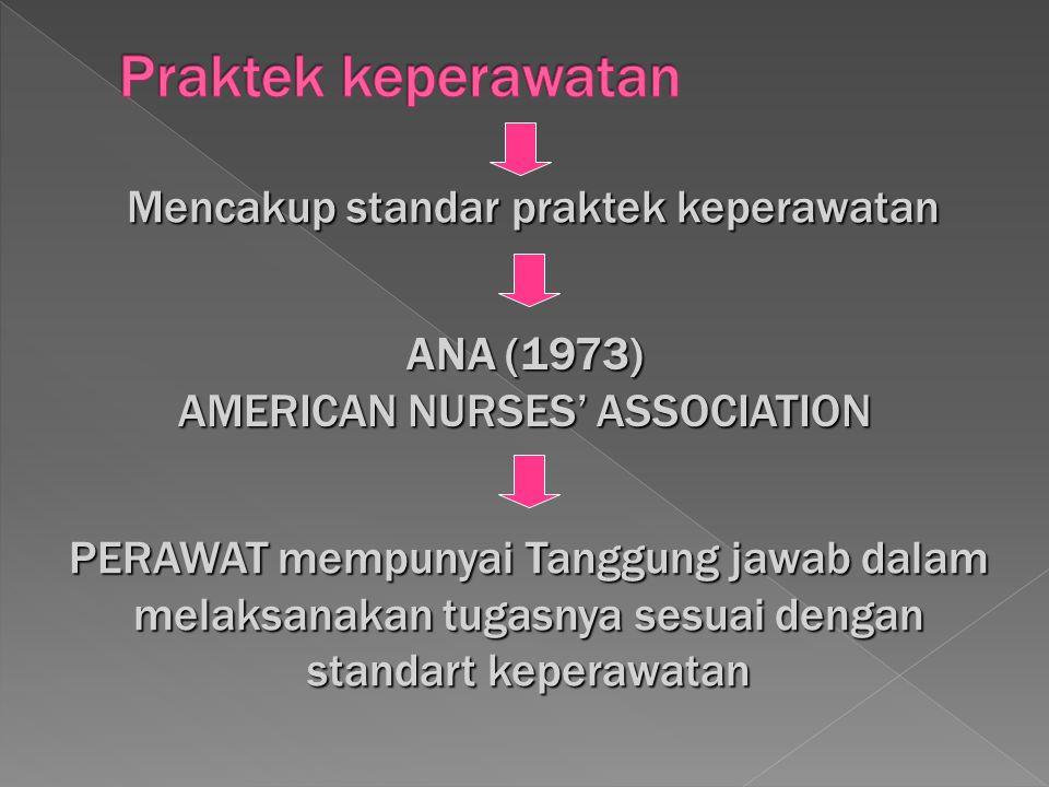 PERAWAT mempunyai Tanggung jawab dalam melaksanakan tugasnya sesuai dengan standart keperawatan Mencakup standar praktek keperawatan ANA (1973) AMERIC