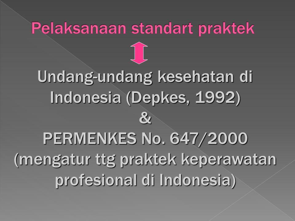 Undang-undang kesehatan di Indonesia (Depkes, 1992) & PERMENKES No. 647/2000 (mengatur ttg praktek keperawatan profesional di Indonesia)