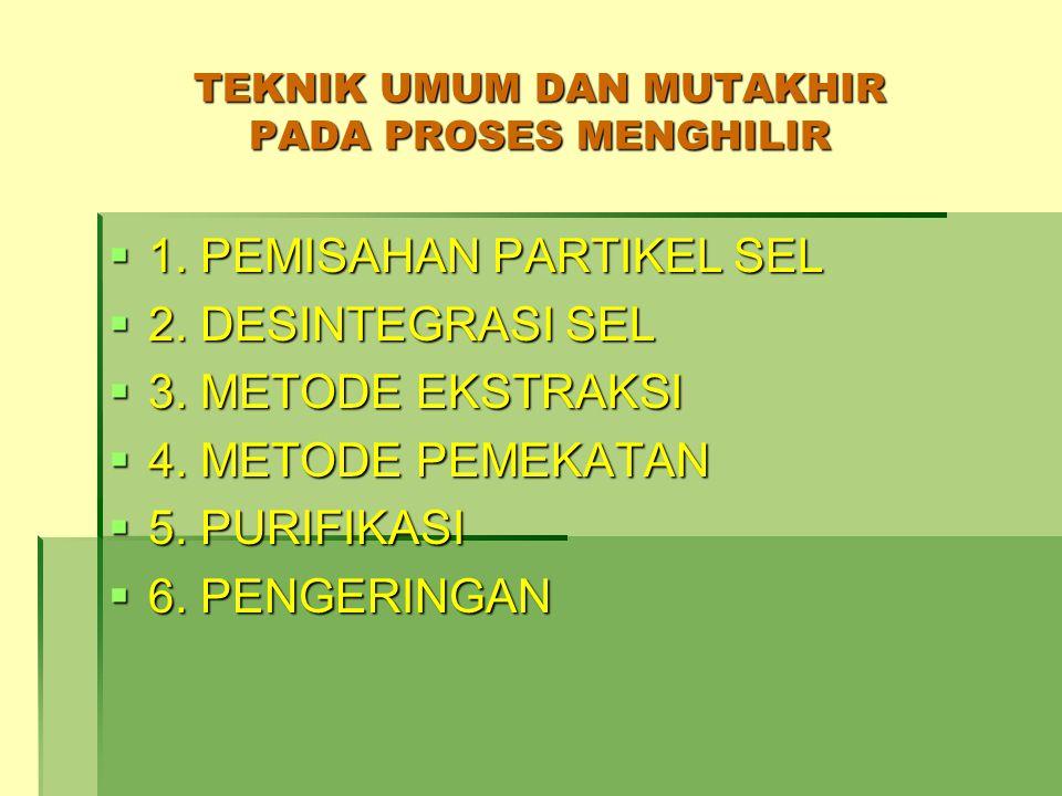 TEKNIK UMUM DAN MUTAKHIR PADA PROSES MENGHILIR  1. PEMISAHAN PARTIKEL SEL  2. DESINTEGRASI SEL  3. METODE EKSTRAKSI  4. METODE PEMEKATAN  5. PURI