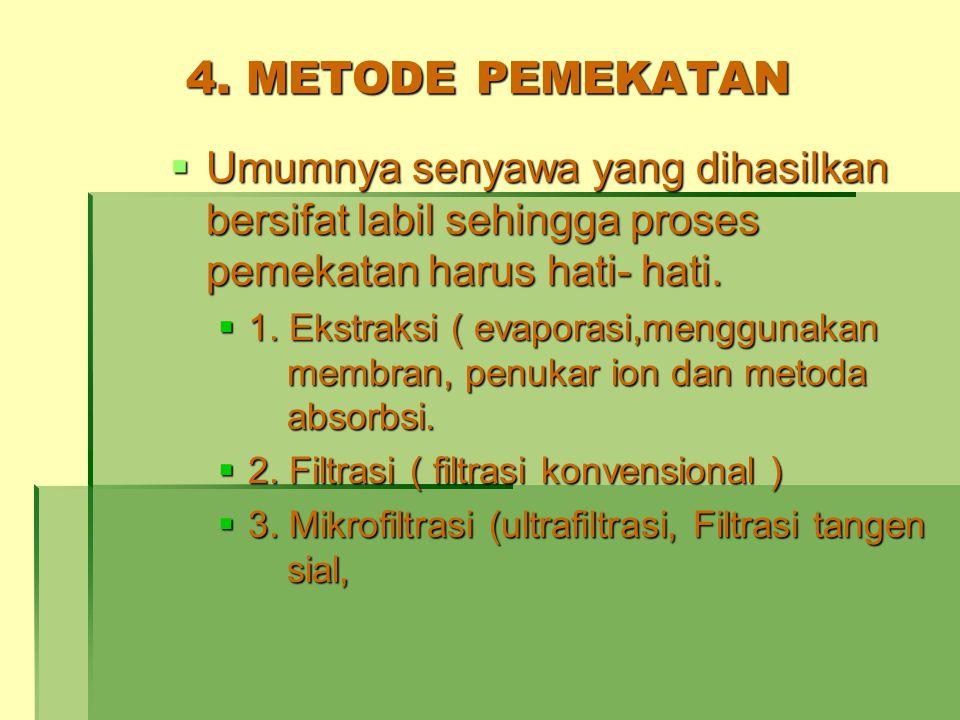 4. METODE PEMEKATAN  Umumnya senyawa yang dihasilkan bersifat labil sehingga proses pemekatan harus hati- hati.  1. Ekstraksi ( evaporasi,menggunaka