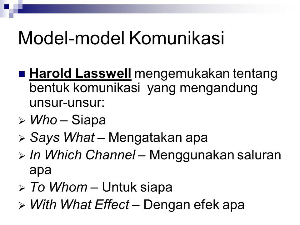 Model-model Komunikasi Harold Lasswell mengemukakan tentang bentuk komunikasi yang mengandung unsur-unsur:  Who – Siapa  Says What – Mengatakan apa