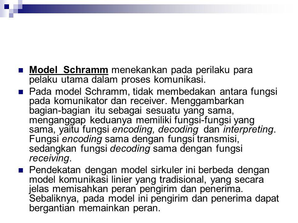 Model Schramm menekankan pada perilaku para pelaku utama dalam proses komunikasi. Pada model Schramm, tidak membedakan antara fungsi pada komunikator