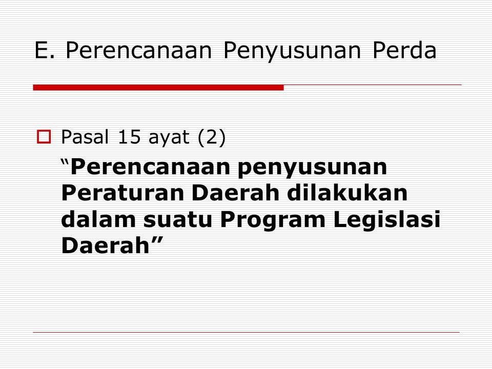 "E. Perencanaan Penyusunan Perda  Pasal 15 ayat (2) "" Perencanaan penyusunan Peraturan Daerah dilakukan dalam suatu Program Legislasi Daerah"""